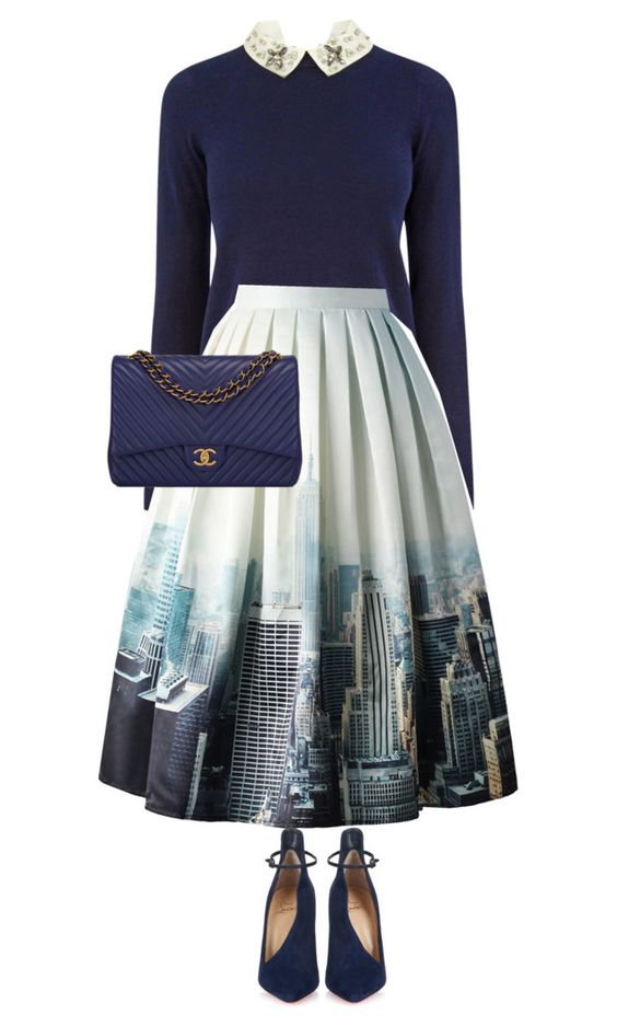 """midi skirt style"" by ecem1 ❤ liked on Polyvore featuring Oasis, Chicwish, Christian Louboutin and Chanel"