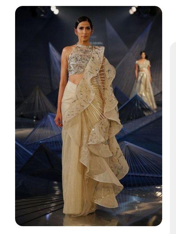 Ruffled Draping Style Indian Fashion Designers Fashion Stylish Party Dresses