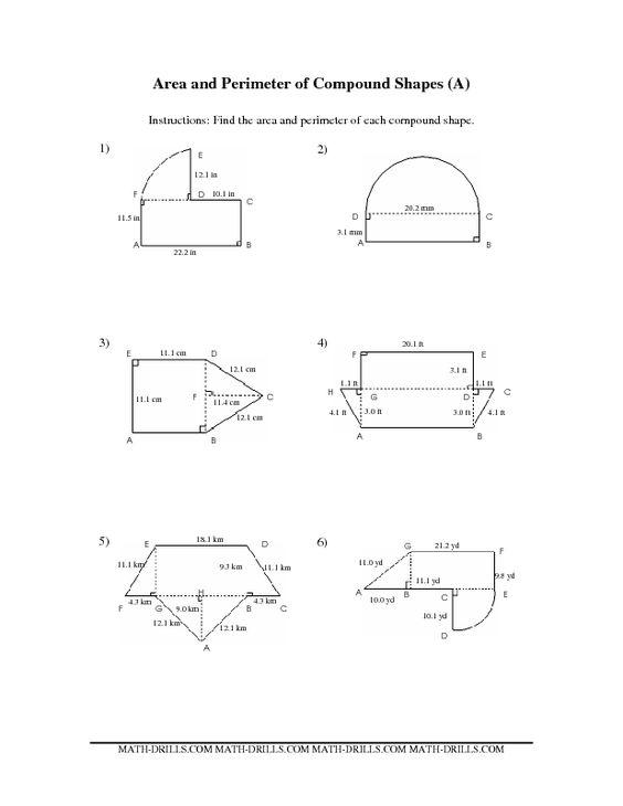measurement worksheet area and perimeter of compound shapes math strategies pinterest. Black Bedroom Furniture Sets. Home Design Ideas
