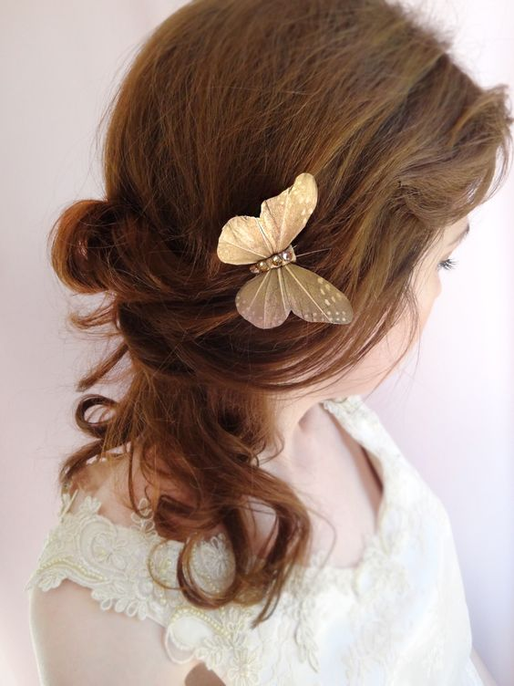 gold butterfly hair pin