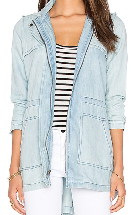 Hooded Light Chambray Zip-Up Jacket with Drawstring Ties