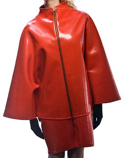 Mary Quant - Imperméable 'Poncho' Zip Anneau - Vinyl Rouge - Années 60