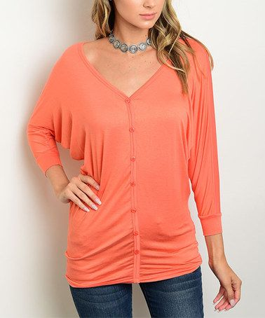 Loving this Orange Dolman Button-Up on #zulily! #zulilyfinds