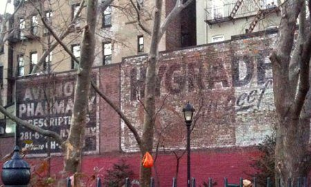 Hygrade's All Beef ghost sign in Winston Churchill Square, NYC