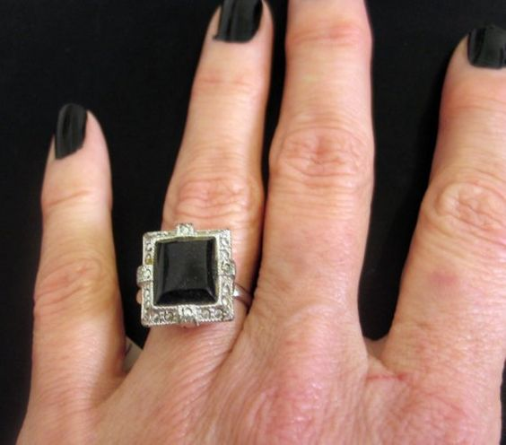 Vintage 1950s Glam Ring Black and Crystal Ring by VintageArcana, $10.00