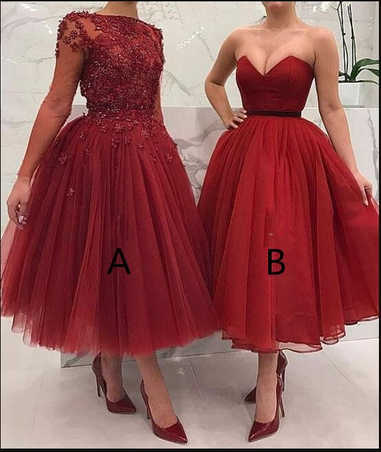 Cheap Two Styles Short Prom Dresses Lace Appliques Beaded A Line Evening Party Dresses Tea Length Occasion Party Wear From Babybridal Red Formal Dresses Burgundy Evening Dress Cheap Homecoming Dresses