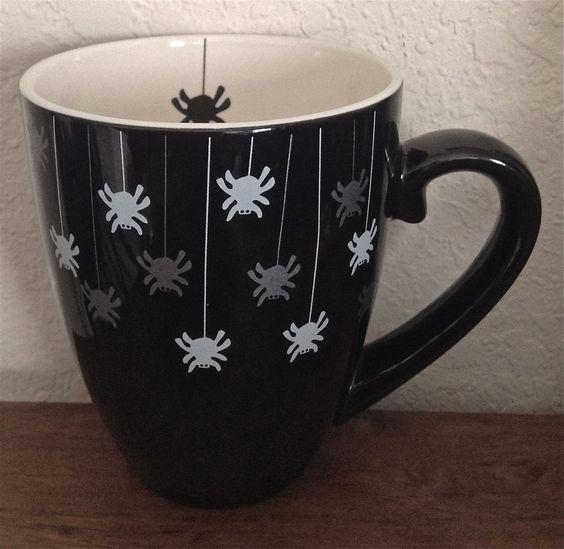STARBUCKS Coffee Mug Cup Halloween Black Spider 20 oz. 2002 Barista Limited RARE
