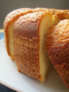 """Nana's Pound Cake ~ This wonderful pound cake travels well and can be """"Dressed Up"""" With a glaze of your choice or is pretty just dusted with powdered sugar. A welcome change from all the sugary desserts of the holidays. Good for breakfast, snacks and after dinner with coffee."""