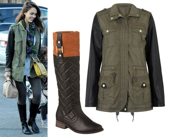 Jessica Alba in riding boots & parka jacket with leather sleeves