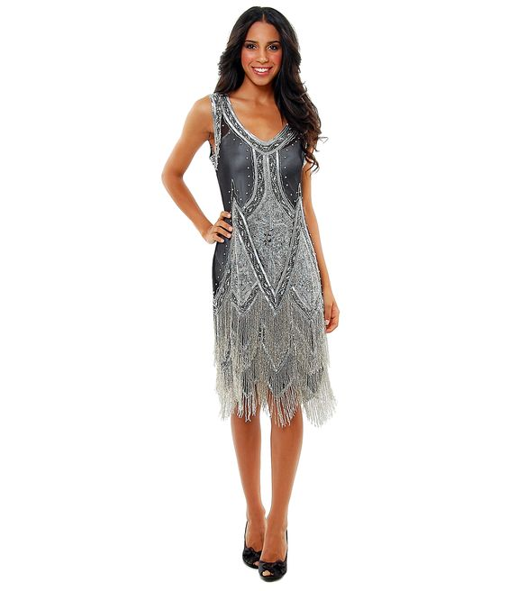 Black & Silver Embroidered Reproduction 1920's Flapper Dress - S to 2XL - Unique Vintage - Cocktail, Pinup, Holiday & Prom Dresses.