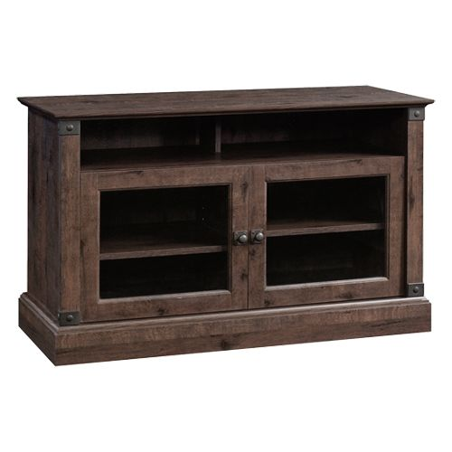 Sauder Carson Forge Panel Tv Stand Coffee Oak Tempered Glass
