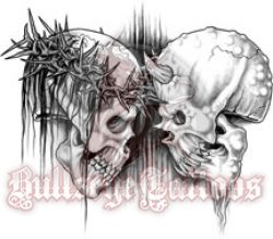 jesus skull vs devil skull tattoo design at