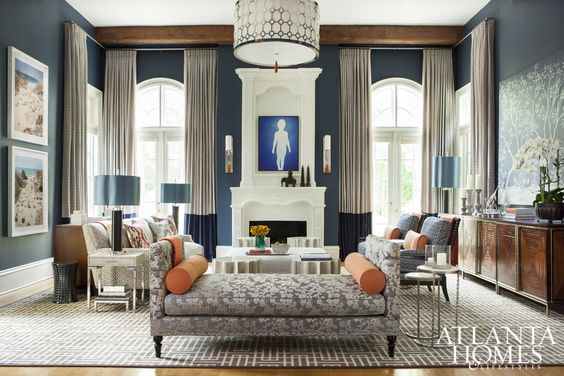 2015 Decorators' Show House & Gardens | Favoring the use of patterns to inject personality into a space, designer Vern Yip transformed the den into a cozy and casual gathering spot.