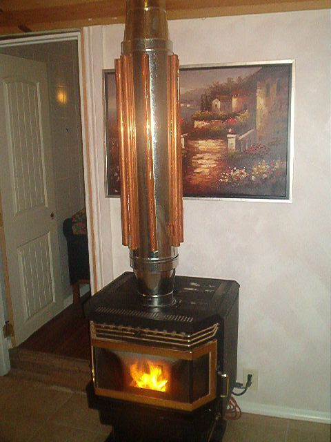 Stove With Heat Exchanger On The Flue Looks A Bit Mad To Me Wood Stove Wood Burning Stove Heat Exchanger