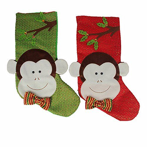 Bargain World Christmas Xmas Monkey Stockings Candy Colour Gift Bag
