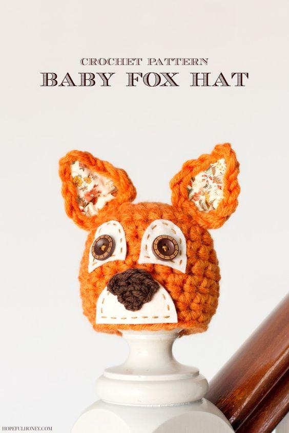 Newborn Fox Hat Crochet Pattern   Sombrero de zorra, Patrones y Croché
