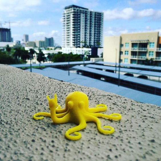 #rocktopus does #Miami ! First #3dprint on our #lulzbotmini ! #3dts #3dhubs #3dprinting #3dworld #3dprinted #lulzbot #protopasta #shapeways by 3dtoolingscience