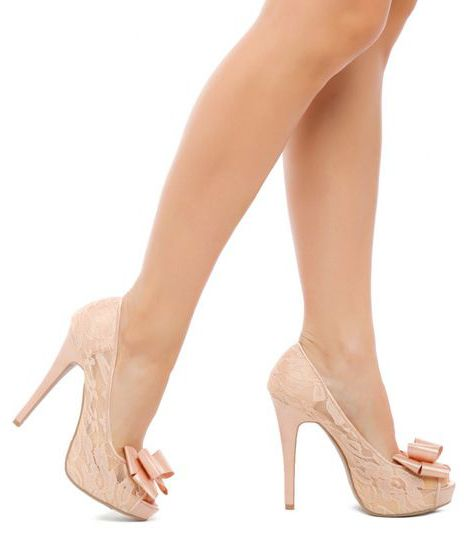 Nude Bags by Valentino - Shop Now | Nude shoes, Peach heels and Bows