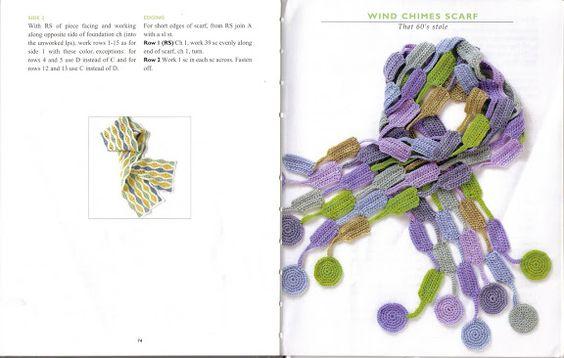 VK-Crocheted Scarves - mercheanais - Álbuns da web do Picasa..wind chimes scarf...free written pattern!