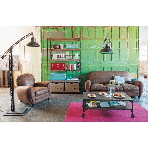 Canapé 3 places imitation cuir marron