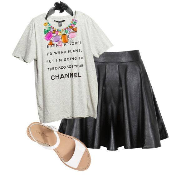 leather skirt & statement necklace on #polyvore