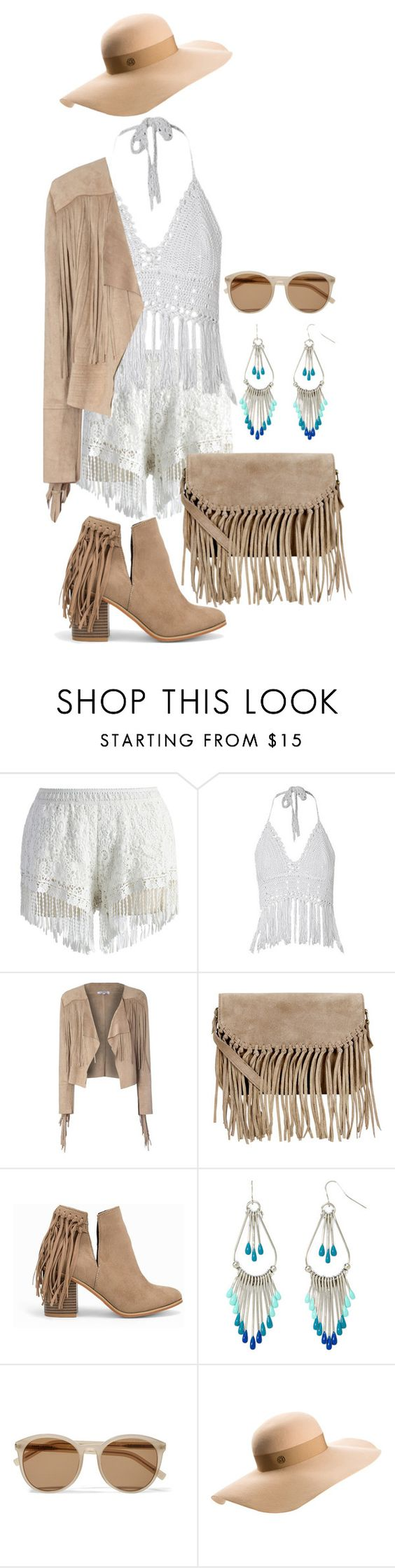"""Coachella..."" by maryv-1 ❤ liked on Polyvore featuring Chicwish, Glamorous, Accessorize, Nly Shoes, Decree, Yves Saint Laurent and Maison Michel"