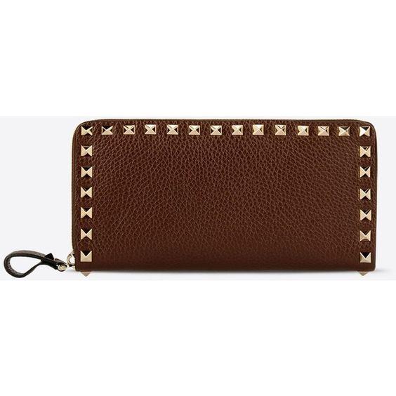 Valentino Garavani Rockstud  Wallet ($595) ❤ liked on Polyvore featuring bags, wallets, dark brown, zipper wallet, studded wallet, valentino wallet, logo bags and brown wallet