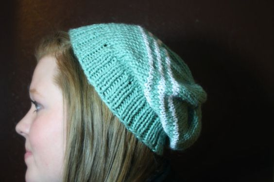 Aqua/Teal knit striped slouchy hat by MadeForYouCrafts on Etsy, $15.00