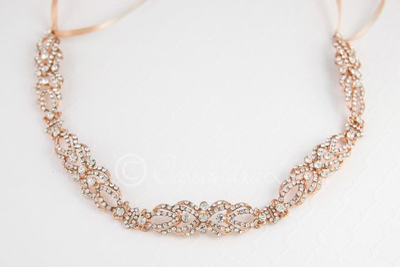 Rose Gold Wedding Headband of Filigree Links