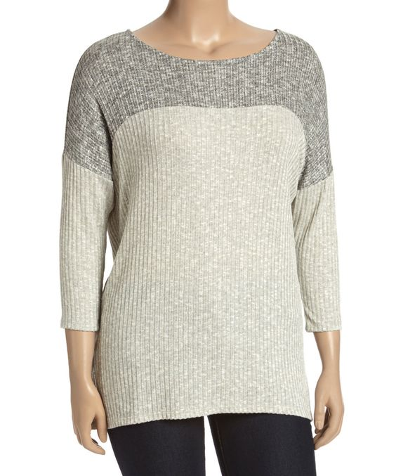 Another great find on #zulily! MOA Collection Gray & Beige Sweater - Plus by MOA Collection #zulilyfinds