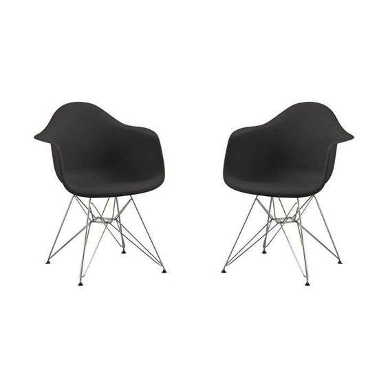 Conjunto 2 Cadeiras Eames ABS com braço Preto pés em aço