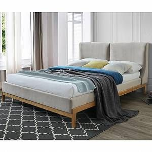 Furniture In Fashion Energy Fabirc Double Bed In Coffee With Wooden Frame In 2020 Fabric King Size Bed Fabric Bed Frame Upholstered Bed Frame