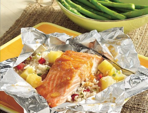 Grilled Caribbean Salmon Packs