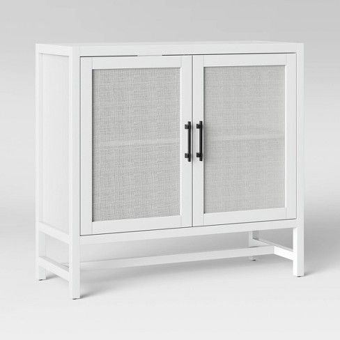Warwick 2 Door Wood Rattan Accent Cabinet White Threshold Wood Rattan Accent Cabinet Entryway Storage Cabinet