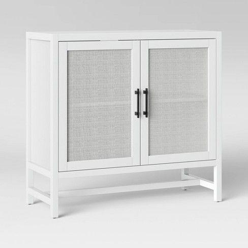 Warwick 2 Door Wood Rattan Accent Cabinet Threshold Wood Rattan Accent Cabinet Wood Doors