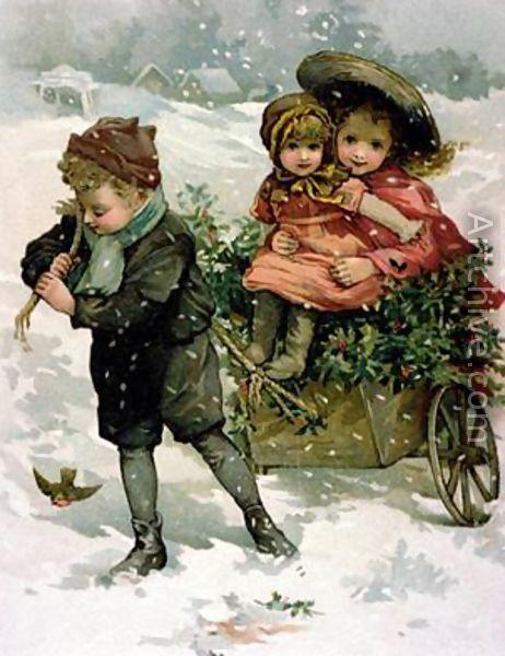 hiver enfants brouette neige Lizzie Lawson