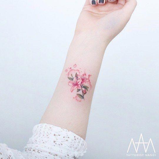 Watercolor Azalea Flower Tattoo By Tattooist Nanci Minimalisttattoos Delicate Tattoo Tattoos Tattoo Styles