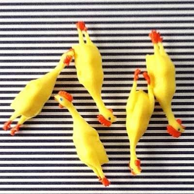Teeny tiny rubber chickens. Hilarious fillers for plastic Easter eggs. (($))