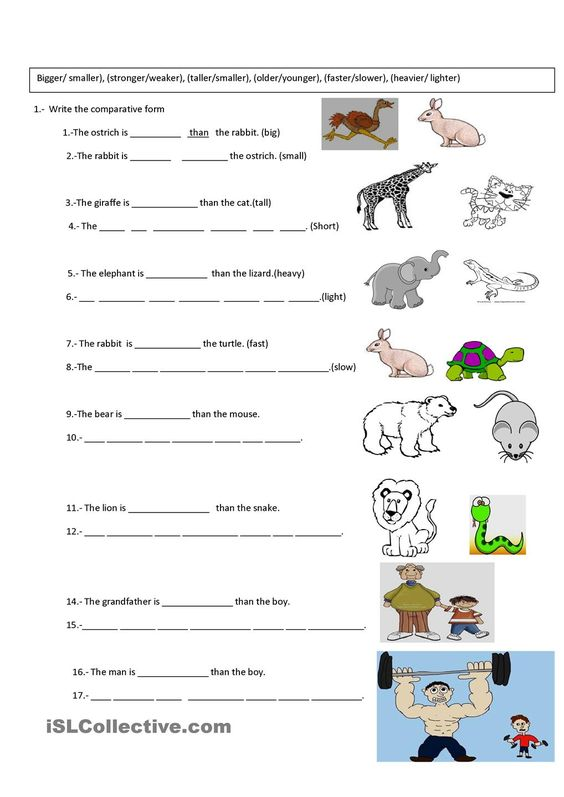 comparative exercise | Grammar | Pinterest | Exercise, ESL and ...