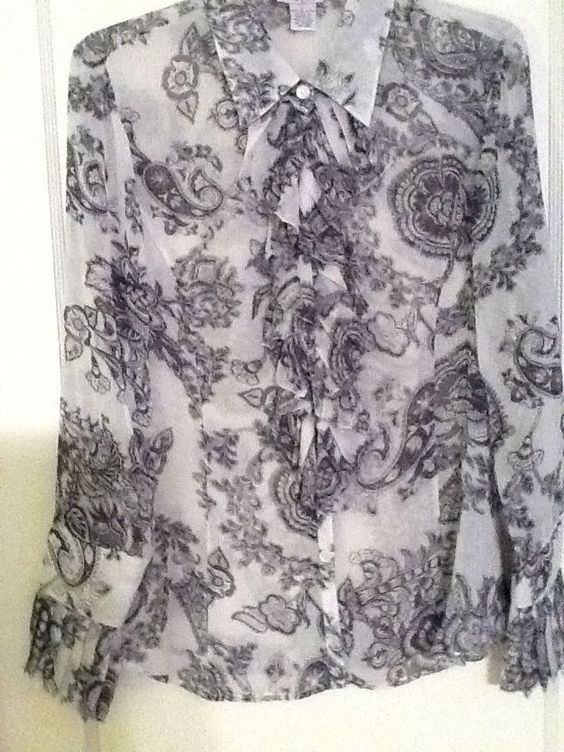 Beautiful CAbi Sheer Black and White Blouse With Knife Pleats on Front/Cuffs L #CAbi #Blouse #CareerorDressy