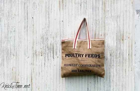 Alimentación saco estilo arpillera bolsa  por KnickofTime en Etsy