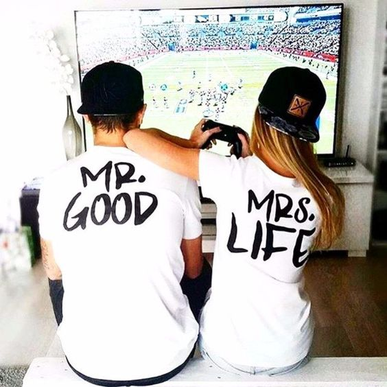 "Be an ideal loving couple to others with this funny LIMITED EDITION couple T-shirts. Comes in different sizes that you may choose from and is made of high-quality cotton to ensure durability and comfort as you wear it. Features round neck collar, regular length sleeve, and white fabric. It also displays funny statement printed in black color: ""Mr. Good"" for men and ""Mrs. Life"" for women. Women Size Chart Size Chest Shoulder Length cm inches cm inches cm inches S 93.98 37 38.418 15.1 63.5 25 M 97.79 38.5 39.37 15.5 64.77 25.5 L 101.6 40 40.32 15.8 66.04 26 XL 105.41 41.5 41.28 16.2 67.31 26.5 XXL 109.22 43 42.23 16.6 68.58 27 XXXL 113.03 44.5 43.18 17 69.85 27.5 Men Size Chart Size Chest Shoulder Length cm inches cm inches cm inches S 102.87 40.5 40.32 15.8 69.85 27.5 M 106.68 42 41.28 16.2 71.12 28 L 109.49 43.1 42.23 16.6 72.39 28.5 XL 114.3 45 49.18 19.3 73.66 29 XXL 118.11 46.5 44.13 17.3 74.93 29.5 XXXL 121.92 48 45.09 17.7 76.2 30"