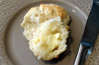 Secret Ingredient Biscuits from Cooks Country. These biscuits use milk and mayonnaise, not butter.