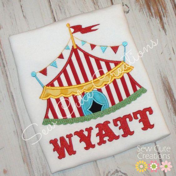 Personalized Circus Tent birthday shirt Custom made Birthday Boys Girls boutique free monogram short long sleeve custom embroidered sew cute