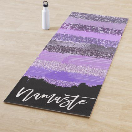 Girly Chic Purple Paint Glitter Brushstrokes Yoga Mat Zazzle Com Purple Paint Girly Yoga Mat
