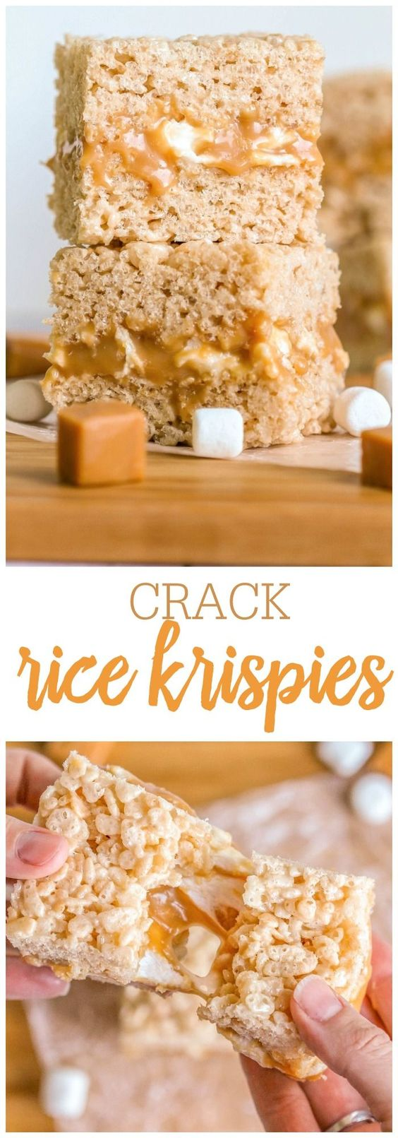 Crack Rice Krispies - yes, they're addicting!! { http://lilluna.com } A gooey marshmallow, caramel middle, drizzled with yummy chocolate!