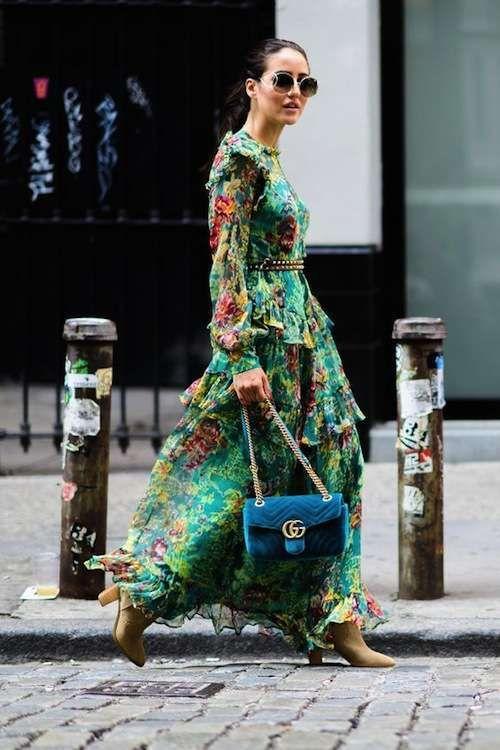sale retailer 6e68d 71c6a Vestito verde smeraldo lungo a fiori con camperos | Abiti ...