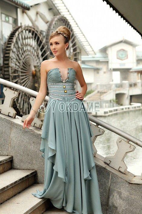 Empire Taille geschichtes Perlenbesetztes sexy schick Abendkleid mit gekerbten Ausschnitt $359.99 Abendkleider