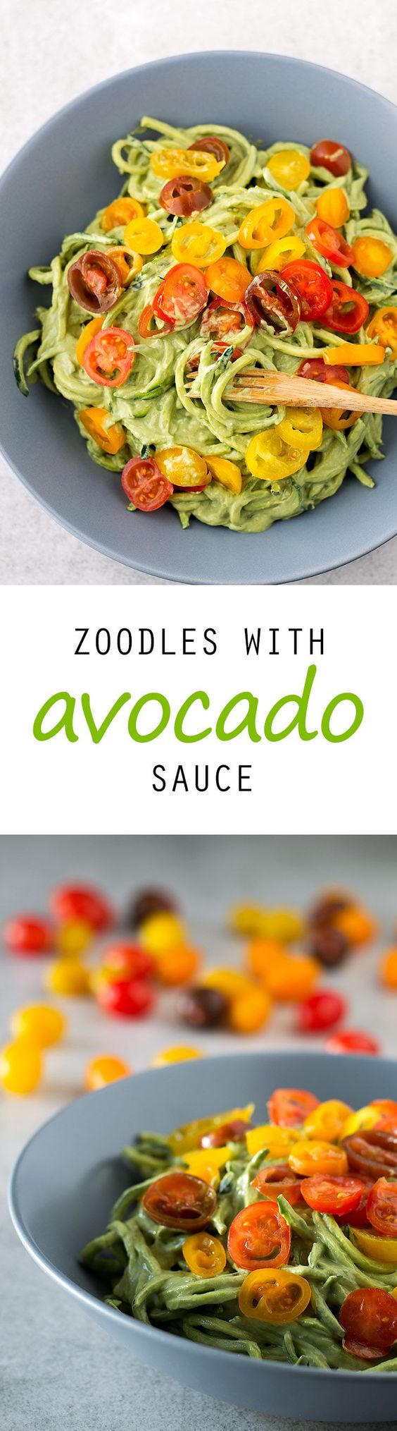 Zucchini Noodles with Avocado Sauce. Vegan, gluten free and low carb dinner recipe