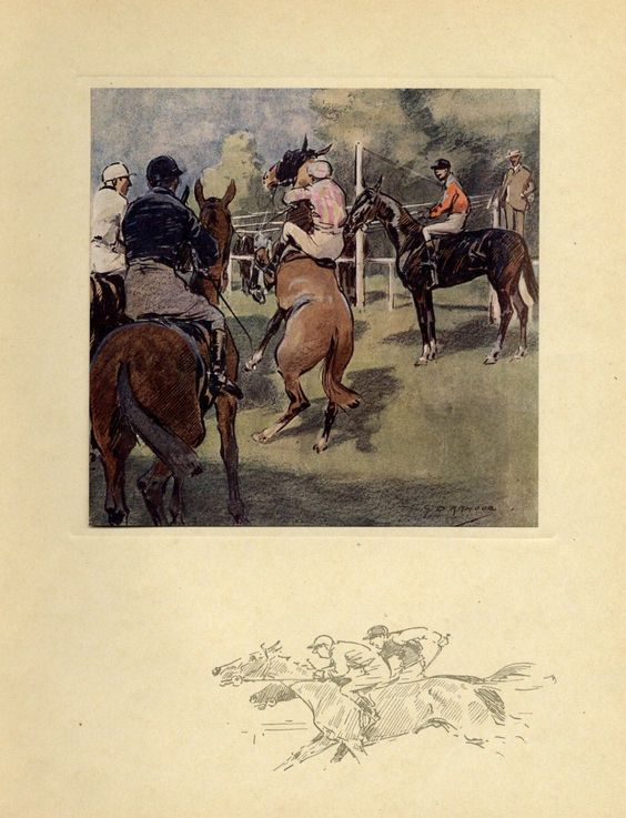 horse racing the starting gate jockey whip antique color print horse race ebay